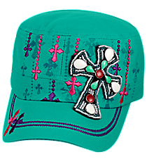 Stone Cross Dark Turquoise Distressed Cadet Cap #T21CROB5-TUQ