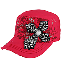 Rhinestone Cross Hot Pink Distressed Cadet Cap #T21CROB7-HPK