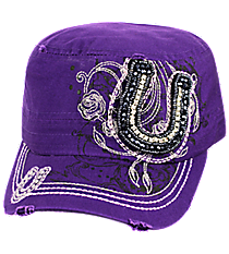 Purple Bling Horseshoe Distressed Cadet Cap #T21HOR02-PUR