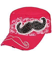 Hot Pink Mustache Distressed Cadet Cap #T21MUS01-HPK