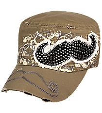 Khaki Mustache Distressed Cadet Cap #T21MUS01-KHK