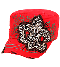 Red Distressed Fleur de Lis Cadet Cap #T21NEW06-RED