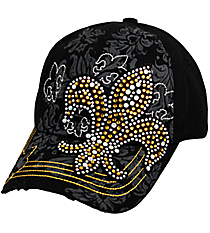 Crystal Fleur de Lis Distressed Black Cap #T12NEW07-BLK