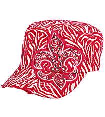 Hot Pink Zebra Fleur de Lis Distressed Cadet Cap #T21NEW21-HPK
