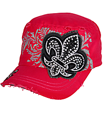 Crystal Fleur de Lis Distressed Hot Pink Cadet Cap #T21NEW25-HPK