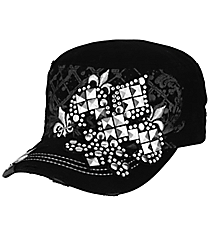 Studded Fleur de Lis Distressed Black Cadet Cap #T21NEW26-BLK