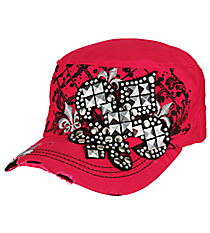 Studded Fleur de Lis Distressed Hot Pink Cadet Cap #T21NEW26-HPK