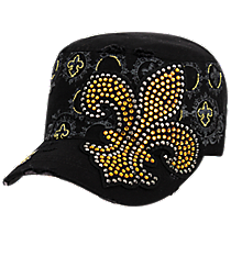 Black Bling Distressed Fleur de Lis Cadet Cap #T21NEW30-BLK