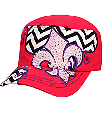 Hot Pink Distressed Chevron and Bling Fleur de Lis Cadet Cap #T21NEW31-HPK