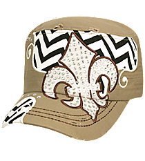 Khaki Distressed Chevron and Bling Fleur de Lis Cadet Cap #T21NEW31-KHK