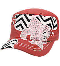 Coral Rose Distressed Chevron and Bling Fleur de Lis Cadet Cap #T21NEW31-NAN
