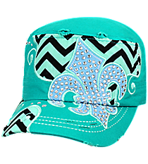 Turquoise Distressed Chevron and Bling Fleur de Lis Cadet Cap #T21NEW31-TUQ