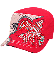 Crystal Fleur de Lis Distressed Hot Pink Cadet Cap #T21NEW32-HPK