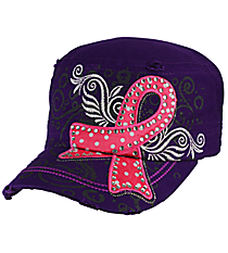 Pink Ribbon Purple Distressed Cadet Cap #T21RIB03-PUR