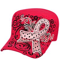 Pink Ribbon Hot Pink Distressed Cadet Cap #T21RIB03-HPK
