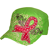 Pink Ribbon Lime Distressed Cadet Cap #T21RIB03-LIME