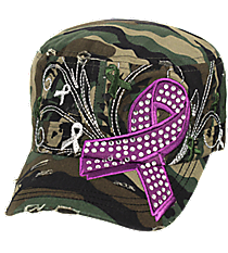 Purple Ribbon Camo Distressed Cadet Cap #T21RIB04-CAM
