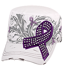 Purple Ribbon White Distressed Cadet Cap #T21RIB04-WHT