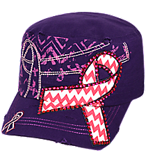 Chevron Pink Ribbon Purple Distressed Cadet Cap #T21RIB05-PUR