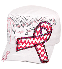 Chevron Pink Ribbon White Distressed Cadet Cap #T21RIB05-WHT