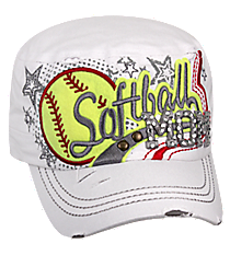 Softball Mom Distressed White Cadet Cap #T21SFM01-WHT