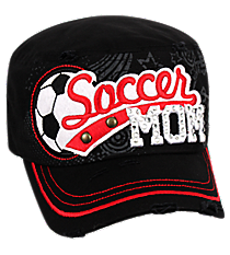 Soccer Mom Distressed Black Cadet Cap #T21SOM01-BLK