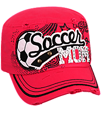 Soccer Mom Distressed Hot Pink Cadet Cap #T21SOM01-HPK