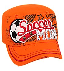 Soccer Mom Distressed Orange Cadet Cap #T21SOM01-ORG