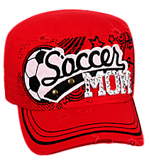 Soccer Mom Distressed Red Cadet Cap #T21SOM01-RED