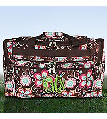 "Flower Bliss Brown 22"" Duffle Bag #T22-161"