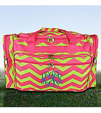 "Fuchsia and Lime Chevron 22"" Duffle Bag #T22-165-F/G"
