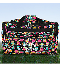 "Neon Owls and Hearts Black 22"" Duffle Bag #T22-175"