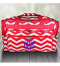 "Fuchsia and White Chevron 22"" Duffle Bag #T22-165-F/W"