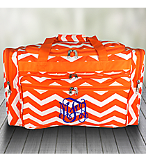 "Orange and White Chevron 22"" Duffle Bag #T22-165-OR/W"