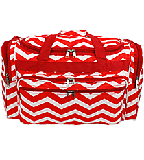 "Red and White Chevron 22"" Duffle Bag #T22-165-R/W"