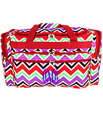 "Red and Purple Chevron 22"" Duffle Bag with Red Trim #T22-170"