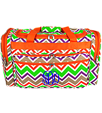 "Lime Green and Khaki Chevron 22"" Duffle Bag with Orange Trim #T22-171"