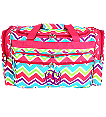 "Pink and Light Blue Chevron 22"" Duffle Bag with Pink Trim #T22-173"