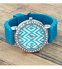 Aqua Aztec Chevron Jelly Watch with Crystal Surround #T619-AQUA
