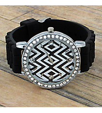 Black Aztec Chevron Jelly Watch with Crystal Surround #T619-BLACK