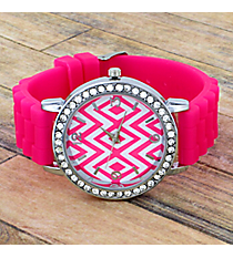 Hot Pink Aztec Chevron Jelly Watch with Crystal Surround #T619-H/PINK