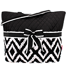 Black Aztec Chevron Quilted Diaper Bag with Black Trim #TB2121-BLACK