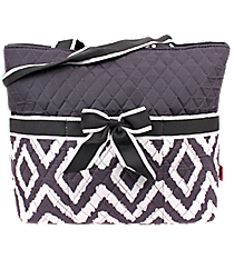 Gray Aztec Chevron Quilted Diaper Bag with Gray Trim #TG2121-GRAY