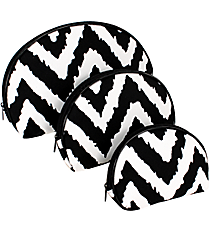 Black Aztec Chevron 3-Piece Nesting Cosmetic Set #TB232-BLACK