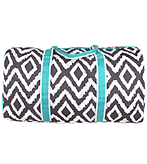 "21"" Gray Aztec Chevron Quilted Duffle Bag with Aqua Trim #TG2626-AQUA"