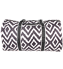 "21"" Gray Aztec Chevron Quilted Duffle Bag with Gray Trim #TG2626-GRAY"