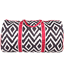 "21"" Gray Aztec Chevron Quilted Duffle Bag with Hot Pink Trim #TG2626-H/PINK"