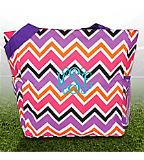 Purple and Fuchsia Chevron with Purple Trim Oversized Tote #TB3015-172