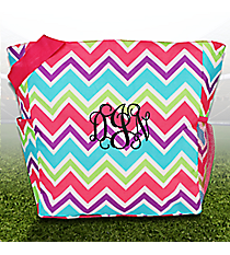 Pink and Light Blue Chevron with Pink Trim Oversized Tote #TB3015-173