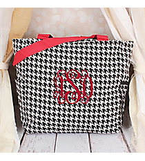 Houndstooth with Red Trim Oversized Tote #TB3015-606-R